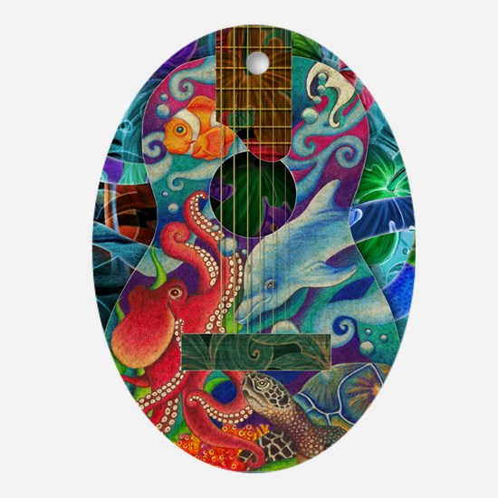 Ocean guitar Oval Ornament