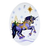 Unicorn christmas Oval Ornaments