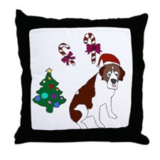 Christmas St. Bernard Dog Throw Pillow