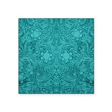 """Leather Floral Turquoise Square Sticker 3"""" x 3"""""""