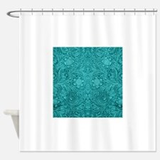 Leather Floral Turquoise Shower Curtain