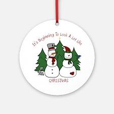 Christmas Snowmen Round Ornament