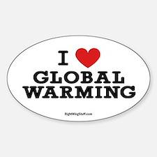 I Love Global Warming Oval Bumper Stickers