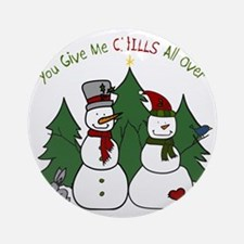 Snowmen Chills Round Ornament