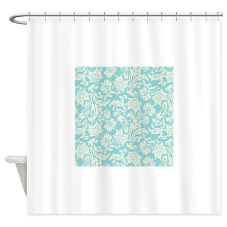 Turquoise And Cream Damask Shower Curtain By ADMIN CP63016328