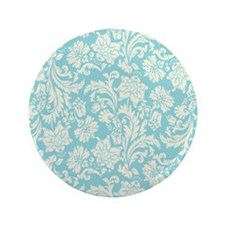 "Turquoise and Cream Damask 3.5"" Button"