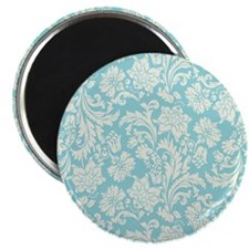 Turquoise and Cream Damask Magnet