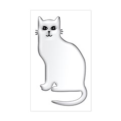White Cat Rectangle Decal