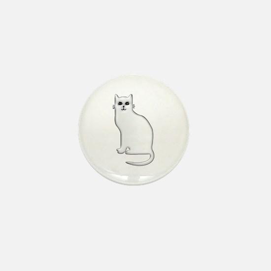 White Cat Mini Button