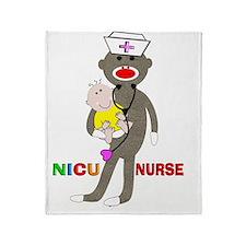 NICU Nurse sock monkey Throw Blanket
