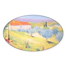 Cottage with Olive Garden Painting Decal
