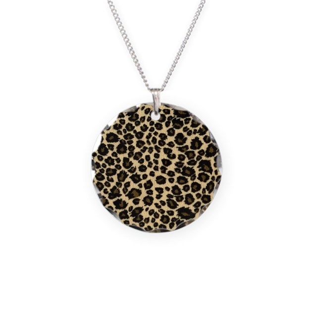 leopard print necklace circle charm by admin cp72600202