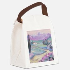 Purple mountain Painting Canvas Lunch Bag