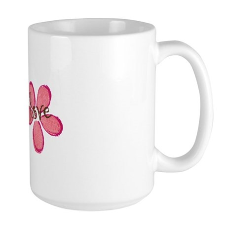 live, laugh, love flowers (pink) Large Mug