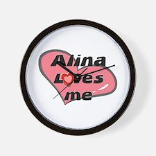 alina loves me  Wall Clock