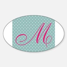 Personalizable Initial Mint and Pink Decal