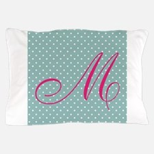 Personalizable Initial Mint and Pink Pillow Case