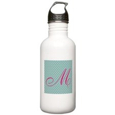 Personalizable Initial Mint and Pink Water Bottle