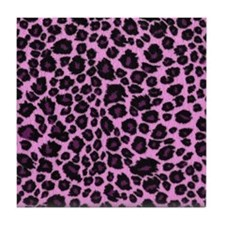 Purple Leopard Print Tile Coaster