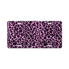 Purple Leopard Print Aluminum License Plate