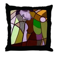 She wore flowers in her hair Throw Pillow