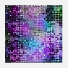Disco Mirrors in Purple and Green Tile Coaster