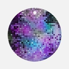 Disco Mirrors in Purple and Green Round Ornament