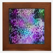 Disco Mirrors in Purple and Green Framed Tile