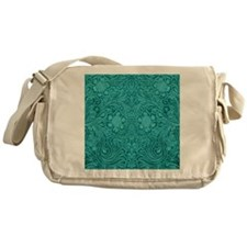 Leather Floral Turquoise Messenger Bag