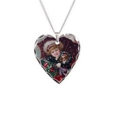 Cute Christmas Girl With Pupp Necklace Heart Charm
