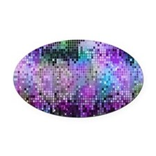 Disco Mirrors in Purple and Green Oval Car Magnet