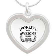 World's Most Awesome Little Sister Silver Heart Ne