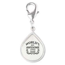 World's Most Awesome Little Sister Silver Teardrop