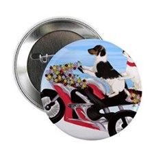 "Jack Russell Terriers on a Motorcycle 2.25"" Button"
