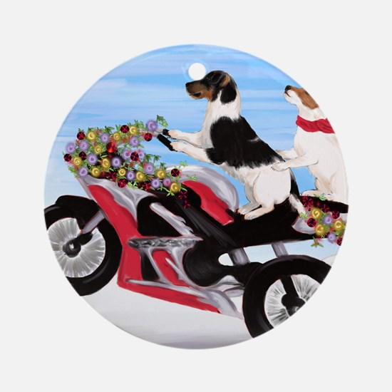 Jack Russell Terriers on a Motorcyc Round Ornament