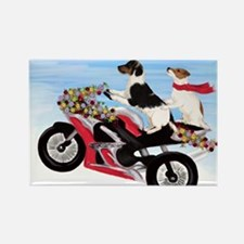Jack Russell Terriers on a Motorc Rectangle Magnet