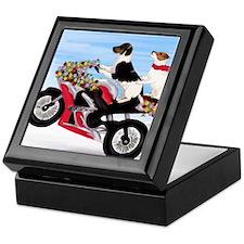 Jack Russell Terriers on a Motorcycle Keepsake Box