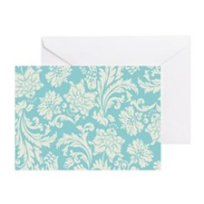 Turquoise and Cream Damask Greeting Card
