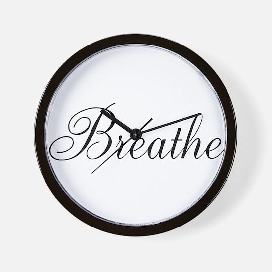 Breathe Black Script Wall Clock