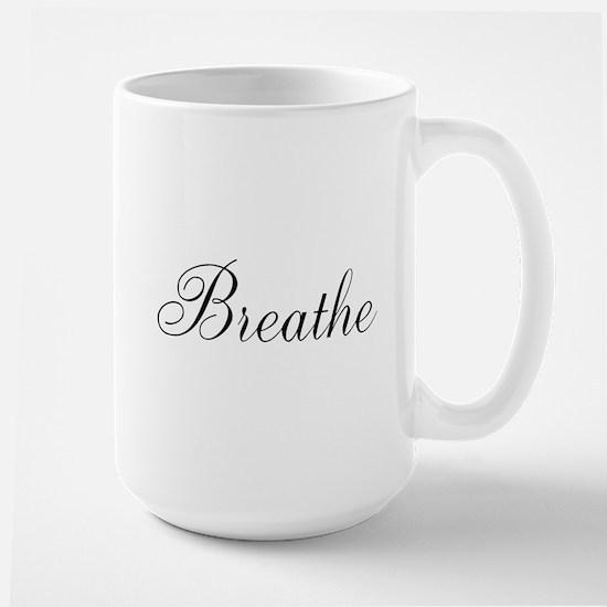 Breathe Black Script Mugs