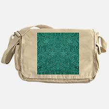 Leather Floral Turquoise Messenger Bag
