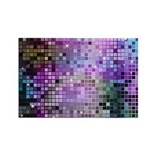 Disco Mirrors in Purple and Green Rectangle Magnet