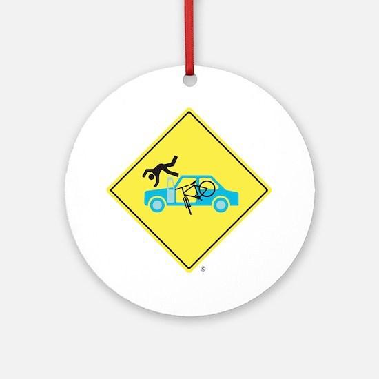 CAUTION SIGN - Bicycle Versus Car D Round Ornament