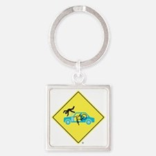 CAUTION SIGN - Bicycle Versus Car  Square Keychain
