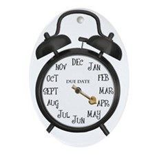Black Alarm April Due Date Maternity Oval Ornament