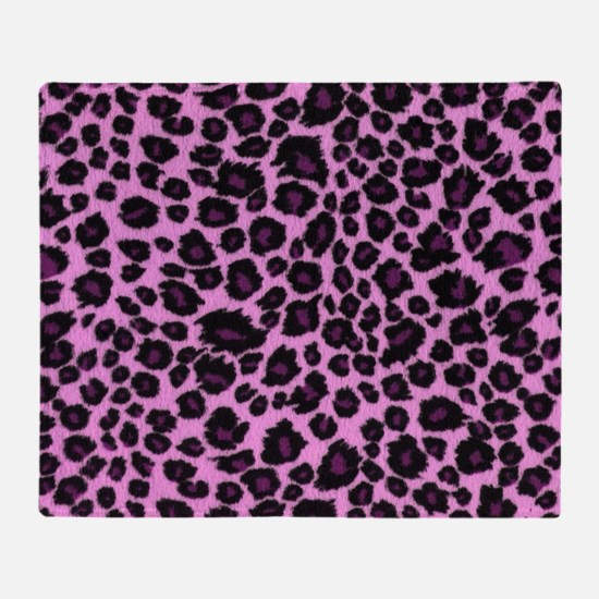 Purple Leopard Print Throw Blanket