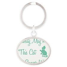 CURIOSITY CAT Oval Keychain