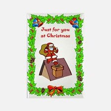 Santa on the roof Rectangle Magnet