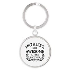 World's Most Awesome Little Brother Round Keychain