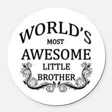World's Most Awesome Little Brother Round Car Magn